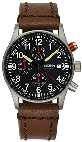 Astroavia Herren-Armbanduhr Chronograph Quarz mit Leder Armband N97L6