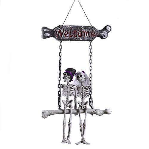 JINRU Hängende Skelett Geist Braut Und Bräutigam Hochzeitspaar, Tag Der Toten Und Halloween Prop Für Skull Dekorationen Für Halloween Spuk Dekor Halloween Dekoration
