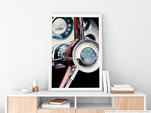 EAU ZONE Home Bild - Art Fotos – Mahagoni Lenkrad eines Oldtimers- Poster Fotodruck in höchster Qualität