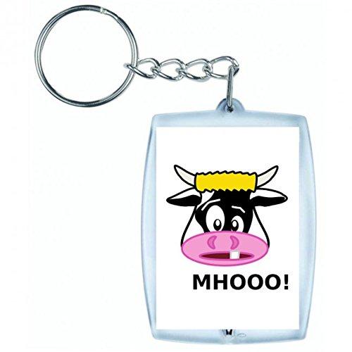 Druckerlebnis24 Schlüsselanhänger Kuh- Tier- SÄUGETIER- Rinder- Milch- Bauernhof- HÄUSLICH in Weiss | Keyring - Taschenanhänger - Rucksackanhänger - Schlüsselring