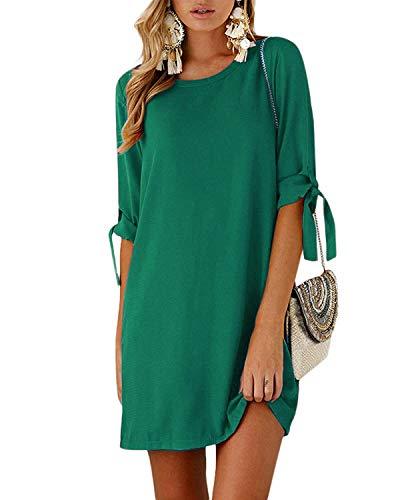 Kidsform Sommerkleid Damen Casual Langes T-Shirt Kleid Lose Tunika Kurzarm Rundhals Minikleid mit Bowknot Ärmeln, XL=EU42,  Grün