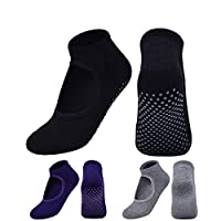 Benlasen Yoga Socks for Women Non-Skid Socks with Grips Socks Pilates Socks for Women Non Slip - Ballet black,purple and grey (3 Pairs)