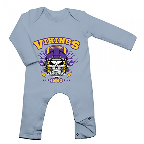 Shirt Happenz Vikings Skull Babybody | American Football | Totenkopf | Football-Helm | Langarm | Langärmliger Strampler, Farbe:Babyblau (Dusty Blue BZ13);Größe:3-6 Monate