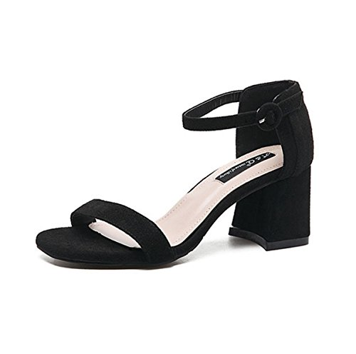Damen Sandalen Nebukleder Schnalle Leichte Bequeme Modische Lässige Elegante Sandalen mit High Heels Schwarz