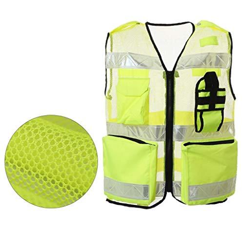 GM-666 Weste, reflektierende Weste Gelb Sicherheitsweste Construction Kleidung Jersey Kleidung Reflektierende Kleidung Mesh-atmungsaktiv -