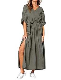 b67cd6a63 Sylar Vestidos Vestido De Fiesta Casual De Verano Y Otoño De Color Sólido  con Cuello En