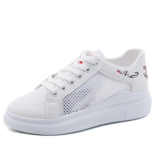 Minetom Donna Sportive Sneakers Running Tennis Basket Sport all' Aperto Fitness Respirabile Mesh Incavare Ricami Floreali Scarpe da Ginnastica Basse Rosso EU 37