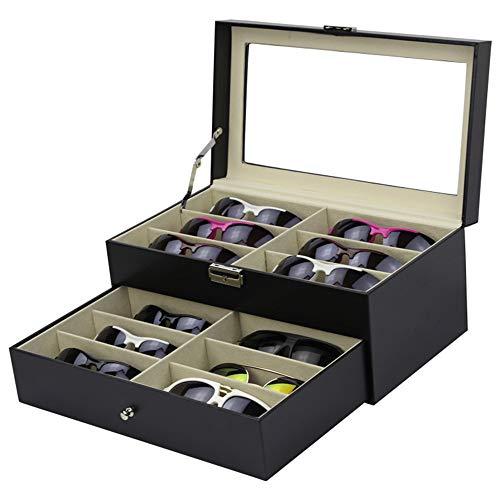 Asdflina Sonnenbrillen Brille Uhren Veranstalter Doppelschicht PU-Leder Brille Sonnenbrille Display Box 12 Schöne handgefertigte Holz Aufbewahrungsbox Eyewear Aufbewahrungs- und Präsentationsbox