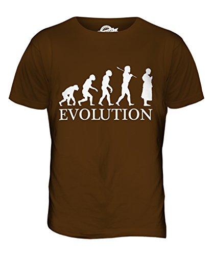 CandyMix Bhikkhu Buddhistischer Mönch Evolution Des Menschen Herren T Shirt, Größe 2X-Large, Farbe Braun (Buddhistische Kostüme)