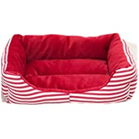 SaySure - Classic Strip Dog Beds Canvas+Sponge