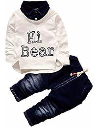 f62899e878bdd YanHoo Conjunto de Ropa para niños Conjunto Casual de Dos Piezas de algodón  Denim para niños