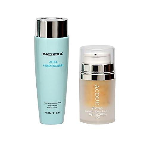Traitement de l'acné, cicatrices d'acné, traitement de l'acné, l'acné Spots, l'acné cicatrices taches, DE Crème acné cicatrice, crème anti-âge, blanchiment de la peau, Correcteur de taches sombres, anti rides Crème Acdue (0l. oz.) + Acdue hydratant Nettoyant (210ml) Ensemble de soins de la peau par Omiera Labs