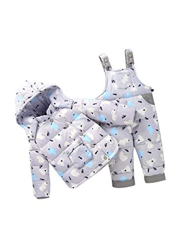 inkind Bib Pant - Kids 2 Teilige Winter Schneeanzug Langärmel Oberbekleidung Unisex Niedlichen Hoodie Jumpsuit (100cm Grau) ()