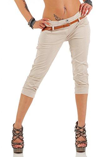 Danaest Damen Capri Hose inkl. Gürtel (624), Farbe:Beige, Grösse:M/38