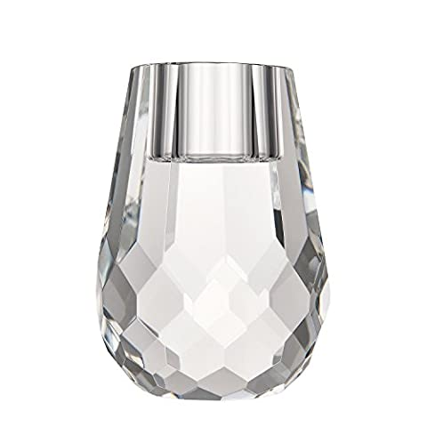 Donoucls Cut Crystal Candle Holders Optical Glass Stand for Table