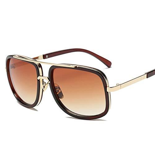 XIAOXINGXING Classic Flat Top Spiegel Sonnenbrille Square Gold Männlich Weiblich Superstar Übergroße Männer Sonnenbrille Frauen (Lenses Color : C)