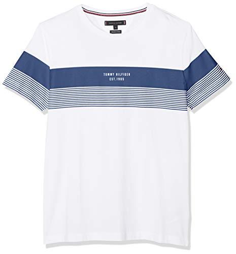 Tommy Hilfiger Herren Block Stripe Tee T-Shirt, Weiß (Blue Quartz/Bright White 902), X-Large (Herstellergröße: XL) - Tommy Hilfiger Stripe Shirt