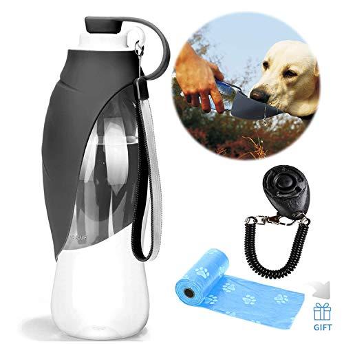 YAMI Haustier Reise Wasser Flaschen erweiterbarer Silikon Hundewasser Flaschen Zufuhr mit freiem Hundetraining Clicker- und Hundeabfall Poop Taschen (Grau) (Wasserflaschen Wiederverwendbare Kleine)