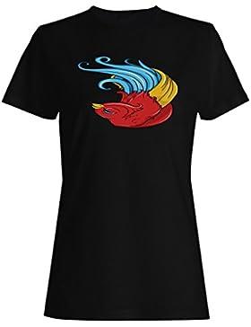Arte Hermoso Retro Del Pájaro camiseta de las mujeres o165f