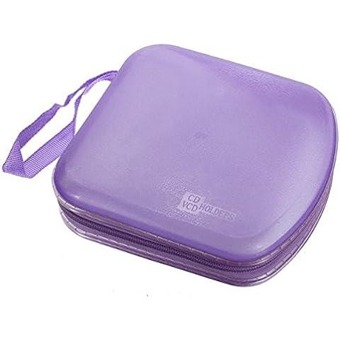 PIXNOR-trasparente, in plastica, spazio per 40 CD, DVD, VCD Scatola porta-Custodia protettiva a portafoglio Organizer, colore: rosso