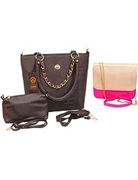 Anemone Women's Shoulder Bag 01 And Sling Bag 01 Combo(Black Pink)