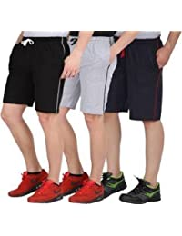 US.Club Assn.Finix Men's Cotton Sport Shorts (Pack of 3-Multicolor)