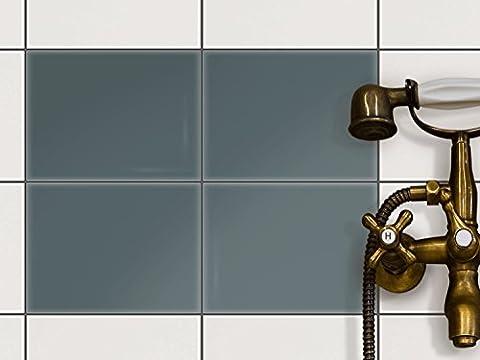 Autocollant Carrelage Sticker   Idée de décoration - Bricolage salle de bains   Design Gris Bleu 2   20x15 cm (4 pièces)