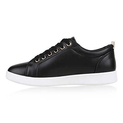 Damen Sneakers Zipper Lack Sportschuhe Freizeit Schuhe Schwarz