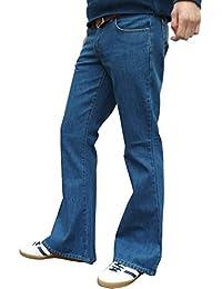 "mens denim bell bottom vintage style retro jeans medium stonewashed blue All sizes (38"" waist x 34"" leg)"