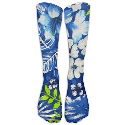 HTETRERW Hawaiian Royal Blue Knee High Graduated Compression Socks for Women and Men - Best Medical Nursing Travel Flight Socks Running Fitness -