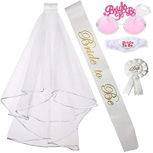 Fiyomet Bachelorette Party Dekorationen Kit Bridal Shower Supplies Braut Schärpe Schleier Brille Bein Kreis Abzeichen sein