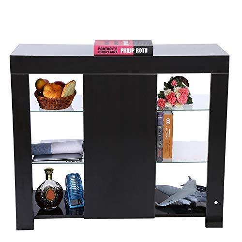 Aparador de armario moderno, con cajón de alto brillo, con luz LED para el pasillo, salón, muebles, 97,5 x 35 x 83,5 cm