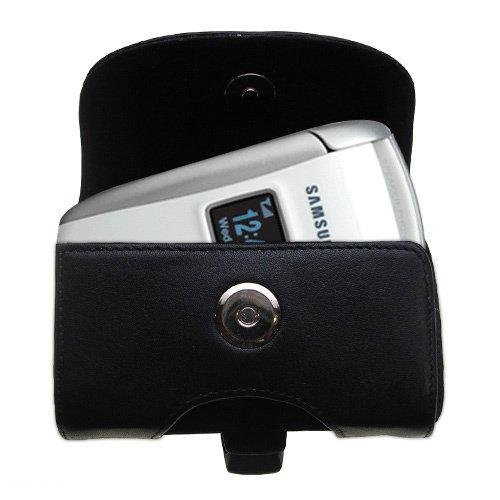 Gürtel Ledertasche Schwarz mit abnehmbaren Clip und Gürtelschlaufe für den Samsung SGH-X495 X496 X497