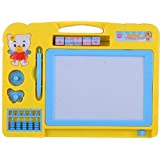 Kids_Bazar 2 in 1 Double Sided Magnetic Slate Whiteboard and Blackboard with Chalk, Duster and Stylus (Multi)