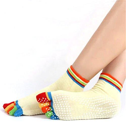 Calcetines amarillos mujer para yoga y pilates