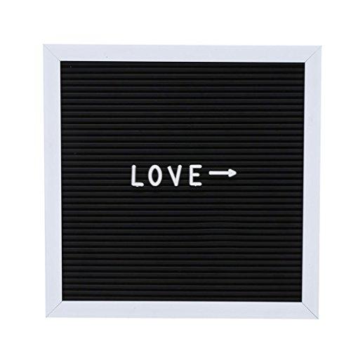 Trada Letter Board, Memo Buchstabentafel Holzrahmen Memotafel Filz Brief Board Zeichen Nachricht Home Office Decor Board Eiche Rahmen Buchstaben Buchstabenbrett 10 '' x 10 '' (Schwarz) (Eiche Decor Home)