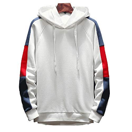 a111a76e12 Xmiral Herren Pullover Mode Bequeme Streifen Patchwork langärmeliges  Kapuzenoberteil(XL,Weiß)