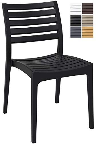 CLP Gartenstuhl ARES aus Kunststoff l Küchenstuhl belastbar bis 160 kg l Wasserabweisender, UV-beständiger Stapelstuhl Schwarz