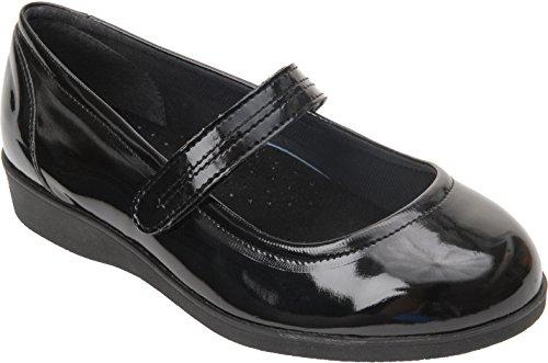 Cosyfeet Daisy-Mae Schuhe - Besonders geräumig / Extra Roomy (breite Passform M+ Euro / 5E+ Width Fitting UK) Schwarz, Lackleder