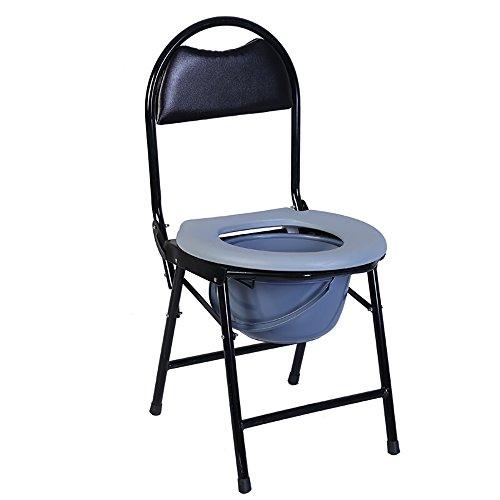 Bedside Toilette/Portable Badesitz Klappbett Kommode Sitz Mit Kommode Eimer Anwendbar für ältere Menschen, Schwangere, Behinderte (Farbe : Gray) (Portable Toiletten Für ältere Menschen)