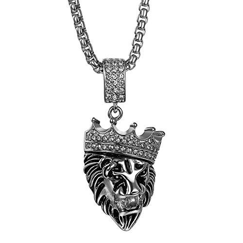 (JewelryWe Schmuck Edelstahl Strass Gotik Kings Landing Krone Löwe König Anhänger mit 56cm Kette, Biker Halskette für Herren, Silber)