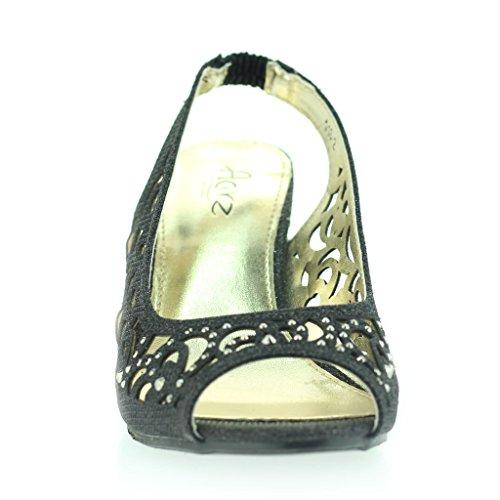 Femmes Dames Soirée Mariage Peeptoe Slingback Diamante Talon Moyen Sandale Chaussures Taille Noir