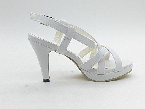 Minetom Toe Alto Verão Brancos Bombas Abertas Sensuais Sapatos Salto Plataforma Strappy Sandálias Festa Gladiador De Senhoras OzYxzw5