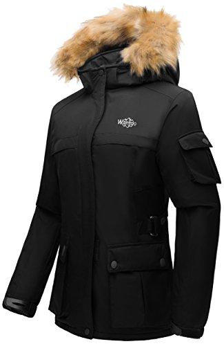 Wantdo Damen Winddichte Wasserdichte Winterjacke Skijacke Fleecefutter mit abnehmbarer Kapuze Pelzkragen Schwarz