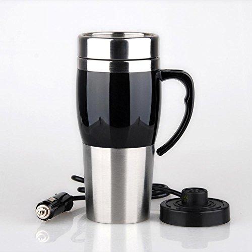 Travel Calentador de taza de acero inoxidable Cargador de acero inoxidable Cargador de cigarrillo Cargador de aire caliente 12 V , black