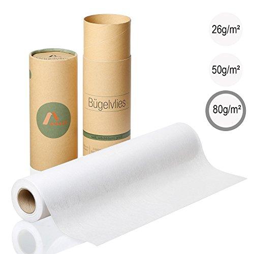 Amazy Bügelvlies für leichte Stoffe (weiß   80 g/m2) – Bügeleinlage zum Verstärken von Kleidung, Decken und Taschen, für Applikationen und Patchwork (9 x 0,4 m)