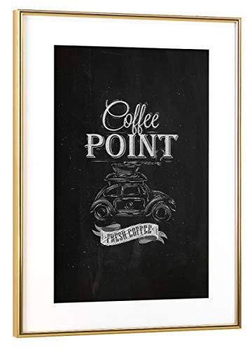 artboxONE Poster mit Rahmen Gold 75x50 cm Car Coffee Grinder Chalk von Anna Kozlenko - gerahmtes Poster Gold Coffee Grinder