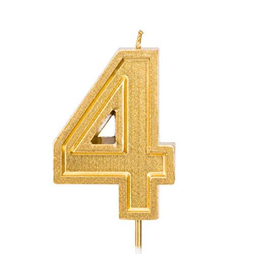 LUTER 2,76 Pulgadas Cumpleaños Grande Velas de Oro Cumpleaños con Purpurina Pastel De Velas Número de Velas Topper de la Torta Decoración para Fiesta de Bodas Niños Adultos (Número Grande 4)