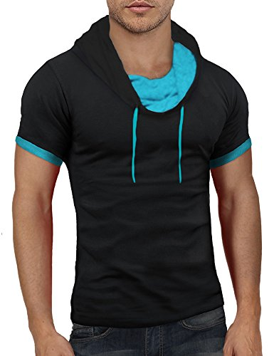 Bents & Mood Herren Poloshirt Slim Fit T-Shirt Hoodie BM12 Snood/Schwarz