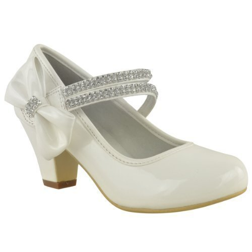 KIDS CHILDRENS GIRLS WEDDING PARTY DIAMANTE BOW LOW MID HEEL SHOES SANDALS  SIZE (UK 11 / EU 30 / US 12, White Patent)